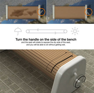 Le banc qui garde vos fesses au sec