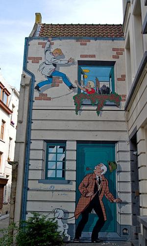 Peinture de Ric Hochet sur mur à Bruxelles, 9 rue de bon-secours (source Wikipédia)